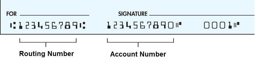 Check and Routing number image